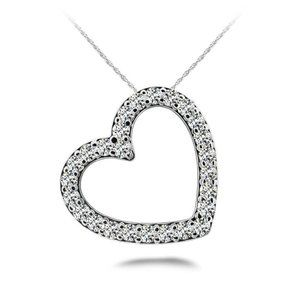 Jewelry - Heart Shaped Pendant Necklace 5.20 Ct Round Cut Di